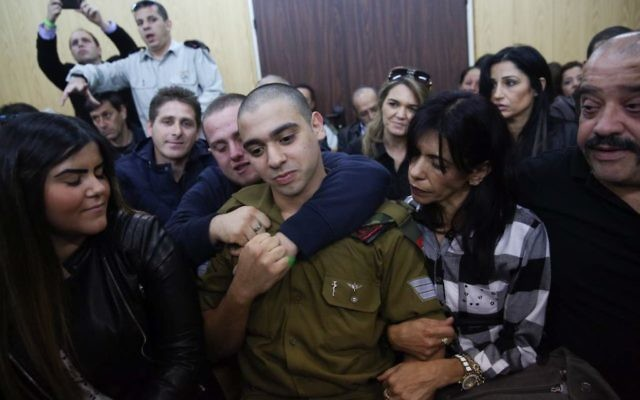 Elor Azaria, the Israeli soldier, who shot a Palestinian terrorist in Hebron arrives to the courtroom before the announcement of his verdict at at Hakirya military court in Tel Aviv.