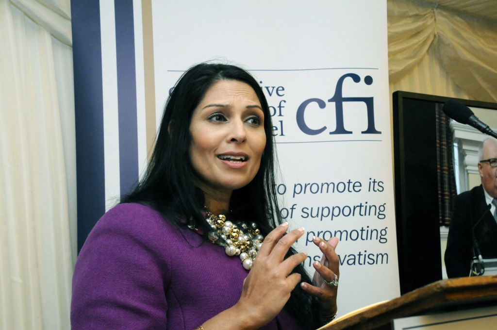 Priti Patel addressing the CFI reception