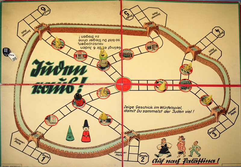 Objects. Game was produced by Rudolf Fabricius, Neusalza-Sprenberg and published by Günther & Co, Dresden. A dice game, where you try to land on the circles/Jewish businesses and round up Jews to expel them.