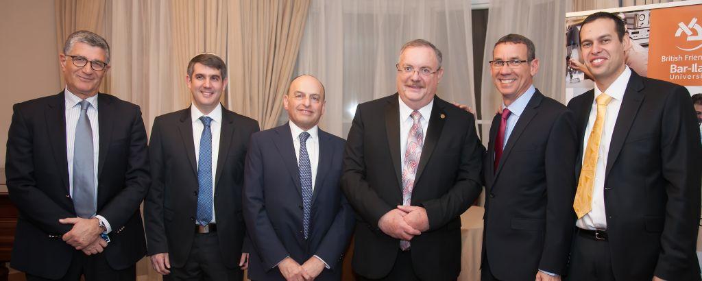 From left to right. Haim Tomer, Ex head of intelligence of the mossad, prof. Lindel, Romie Tager, QC, Prod Hershkovitz, President of BIU, Ambassador Regev, Shlomo Rechtschaffen