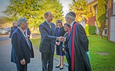 Prince Edward arriving at Maidenhead Synagogue, where he was greeted by Rabbi Romain with the Lord Lieutenant of Berkshire and Mayor of Maidenhead