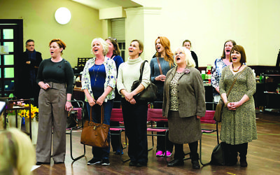 The cast in rehearsals for The Girls, a new musical incarnation based on Calendar Girls