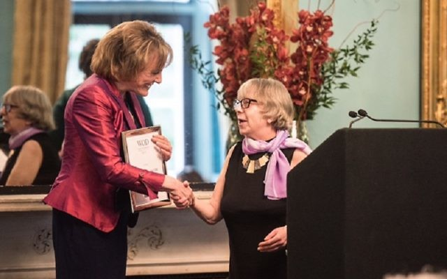 Dame Esther Rantzen, who was handed the award by Leah Phillips, a resident of Sidney Corob home. PIC: Blake Ezra Photography Ltd