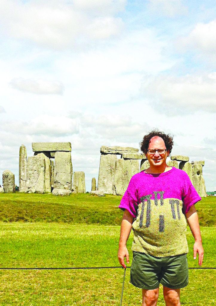Sam Barsky sporting a Stone Henge jumper... at the historic English site