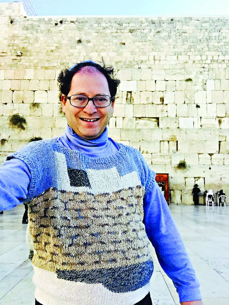 Sam Barsky sporting Kotel knitwear at the Western Wall
