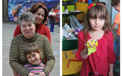 Left: The Metlyaev family in a local park. Right: Nastya Metlyaeva at a 'hand-made workshop'
