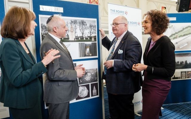 Sir Eirc at the Holocaust memorial design exhibition with Board president Jonathan Arkush and Chief Executive Gillian Merron