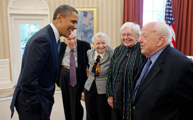 President Barack Obama greets Dr. Mildred S. Dresselhaus, third from right, and Dr. Burton Richter, right, May 7, 2012.