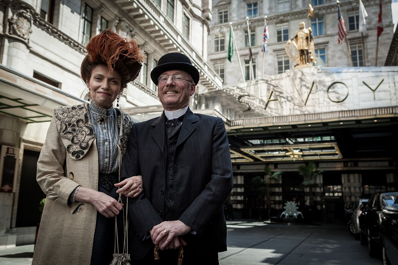 Programme Name: Further Back in Time For Dinner - TX: n/a - Episode: 1900 (No. 1) - Picture Shows: (L-R) outside The Savoy. Rochelle, Brandon - (C) Wall to Wall - Photographer: Duncan Stingemore