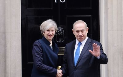 Prime Minister Theresa May greets Israeli Prime Minister Benjamin Netanyahu as he arrived in Downing Street in February 2017 (Photo credit: Stefan Rousseau/PA Wire)