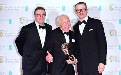 Mel Brooks with the Lifetime Achievement Award actors alongside Simon Pegg (right) and Nathan Lane during the EE British Academy Film Awards  at the Royal Albert Hall (Photo credit: Ian West/PA Wire)