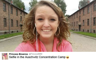 Teenager Brianna Mitchell was condemned in 2014 for posting this smiley selfie on Twitter during a visit to Auschwitz.