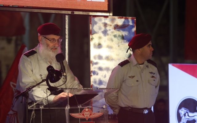 Eyal Karim. Chief Raddi of the IDF addressing the new recruits