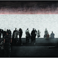 Foster + Partners-Michal Rovner (UK)   'Projected images of an endless procession of human figures resonate with exodus or human text that seems to go on forever like the unspoken testimonies'