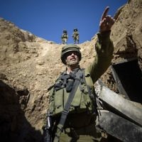 An IDF soldier in a Hamas tunnel in Rafah