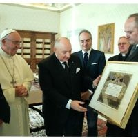 Handing the Pope the Blessing of the Home