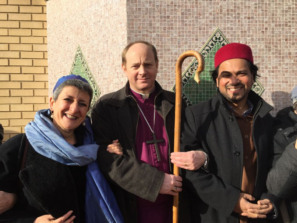 Rabbi Laura Janner-Klausner with Bishop of Edmonton Rob Wickham and Imam Ajmal Masroor