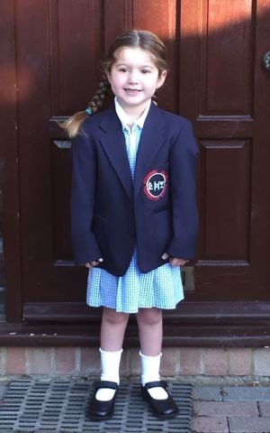 Shani in her school uniform. When she was six weeks old, doctors told her mum and dad that their perfectly healthy-looking baby had in fact been born with a congenital heart defect.