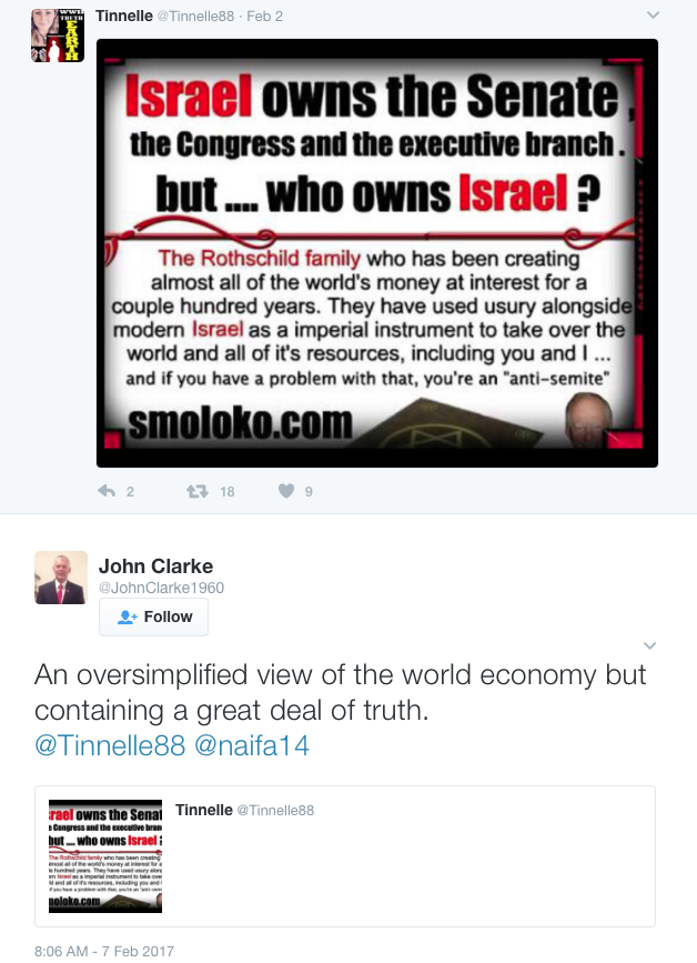 The endorsement of the post by John Clarke, which was followed by a denial he was anti-Semitic