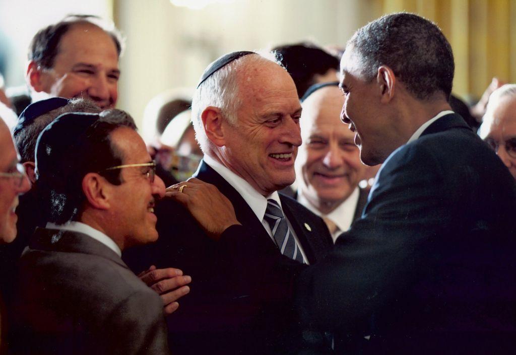 Malcolm Hoenlein with Barack Obama
