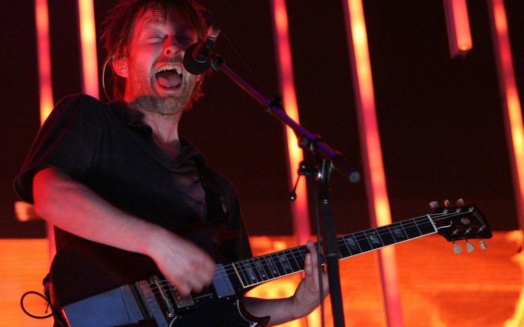 Radiohead frontman Thom Yorke in action