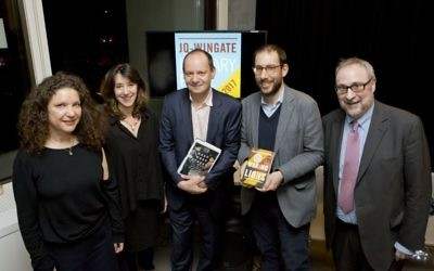 Left to -right: – JQ Wingate prize judges Natasha Lehrer andAmy Rosenthal, winner Philippe Sands, Pushkin Press MD and publisher Adam Freudenheim (on behalf of Ayelet Gundar-Goshen) and chair of judges Professor Bryan Cheyette