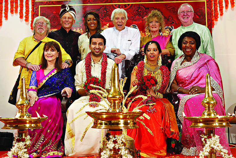 WARNING: Embargoed for publication until 00:00:01 on 07/02/2017 - Programme Name: The Real Marigold Hotel S2 - TX: n/a - Episode: The Real Marigold Hotel S2 (No. n/a) - Picture Shows: Back row L-R: Bill Oddie, Paul Nicholas, Sheila Ferguson, Lionel Blair, Amanda Barrie, Dennis Taylor Front row L-R: Miriam Stoppard, bride and groom, Rustie Lee - (C) Twofour - Photographer: -