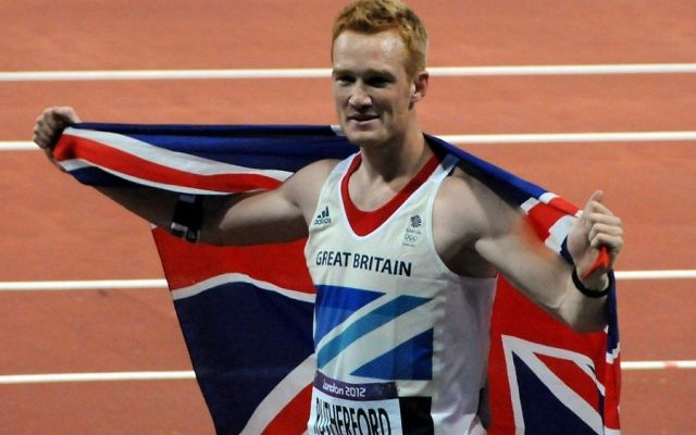 Greg Rutherford after winning the long jump at the 2012 Olympics