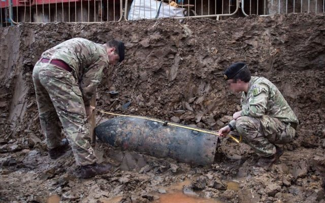 Photo issued by the Ministry of Defence, of a Second World War bomb which was discovered on a building site in Brent, north-west London.   (Photo credit should read: Sgt Rupert Frere/MoD Crown Copyright/PA Wire)