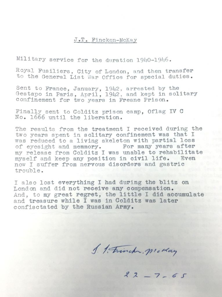 Excerpts of letters released by the National Archives at Kew including an application for compensation in a Prisoner of War camp by Jack Thorez Fincken-McKay who was 31 when he was called up to serve as an agent with the Special Operations Executive in Paris, gaining intelligence that might help the Allied Forces in their war effort against the Germans. (Photo credit should read: Ryan Hooper/PA Wire)