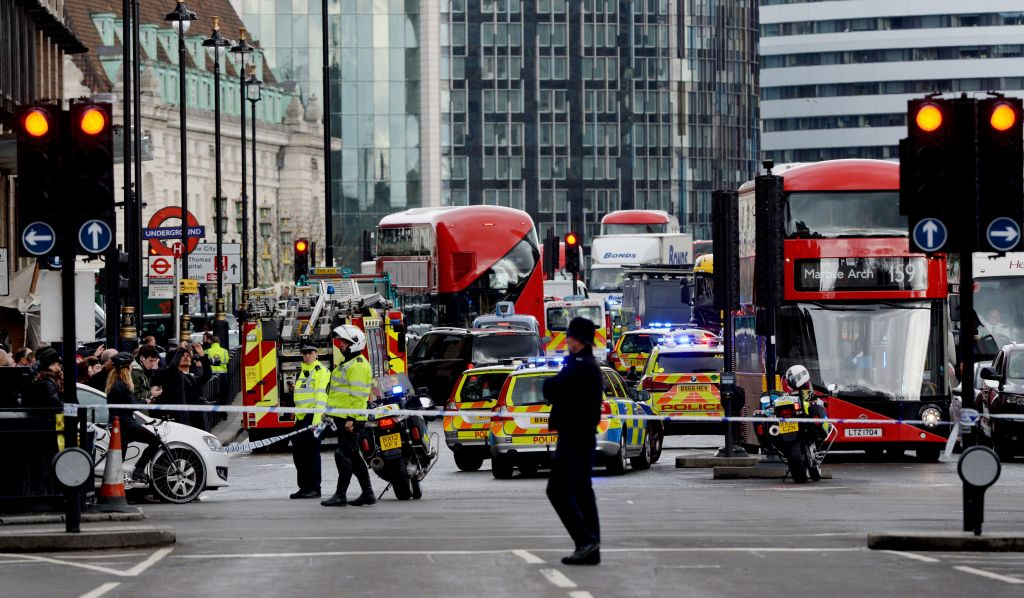 An Air Ambulance outside the Palace of Westminster, London, after sounds similar to gunfire have been heard close to the Palace of Westminster. A man with a knife has been seen within the confines of the Palace, eyewitnesses said. (Photo credit: Victoria Jones/PA Wire)