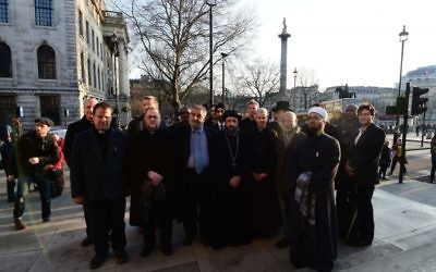 Religious leaders arriving for the candlelight vigil in Trafalgar Square. (Photo credit: Lauren Hurley/PA Wire)