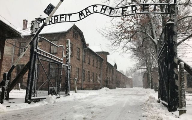 The entrance gates to Auschwitz I, (Photo credit: Jemma Crew/PA Wire)