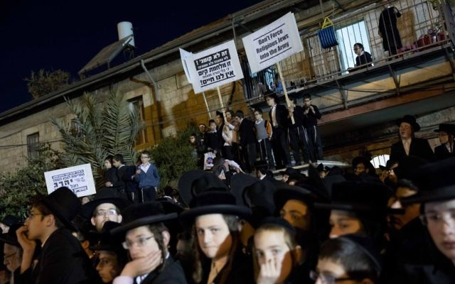 Thousands of ultra orthodox Jews protest the arrest of ultra-Orthodox draft dodgers, at a rally against army recruitment in Jerusalem earlier in 2017. (Photo by: JINIPIX)