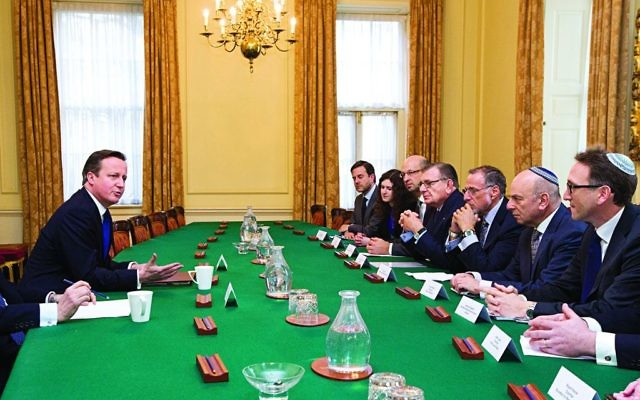 Sir Mick Davis (third from the left) in a meeting with Prime Minister David Cameron and other community leaders on the JLC