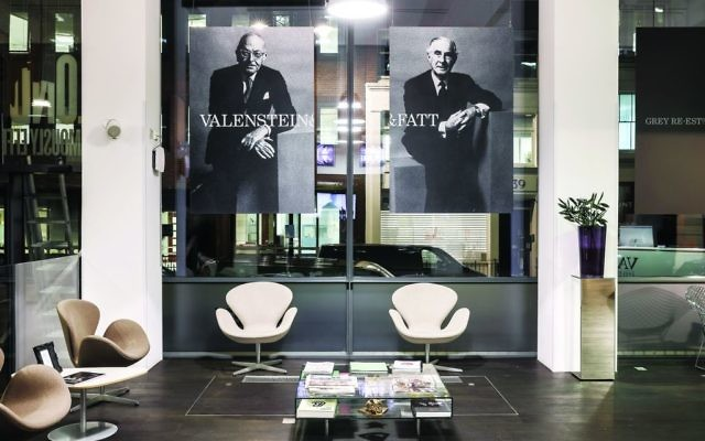 The lobby of Grey London, with pictures of its two Jewish founders, Lawrence Valenstein and Arthur Fatt