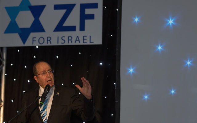 Moshe Ya'alon speaking at the ZF dinner (Credit: Steve Winston)