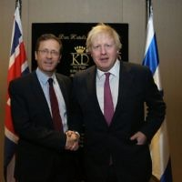 Boris Johnson (right) with Labour leader in Israel, Isaac Herzog