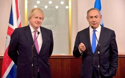 Boris Johnson with Israeli Prime Minister Benjamin Netanyahu during his 2017 visit.
