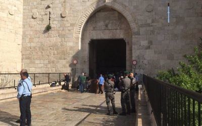 Police units at scene of attempted stabbing attack at Damascus gate, Jerusalem. Police responded to threat. Female Terrorist shot & killed. Source: Micky Rosenfeld on twitter