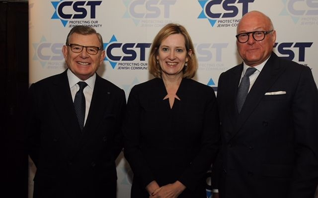 Gerald Roson (L) with Home Secretary Amber Rudd (C) and CST Deputy Chairman Lloyd Dorfman CBE.