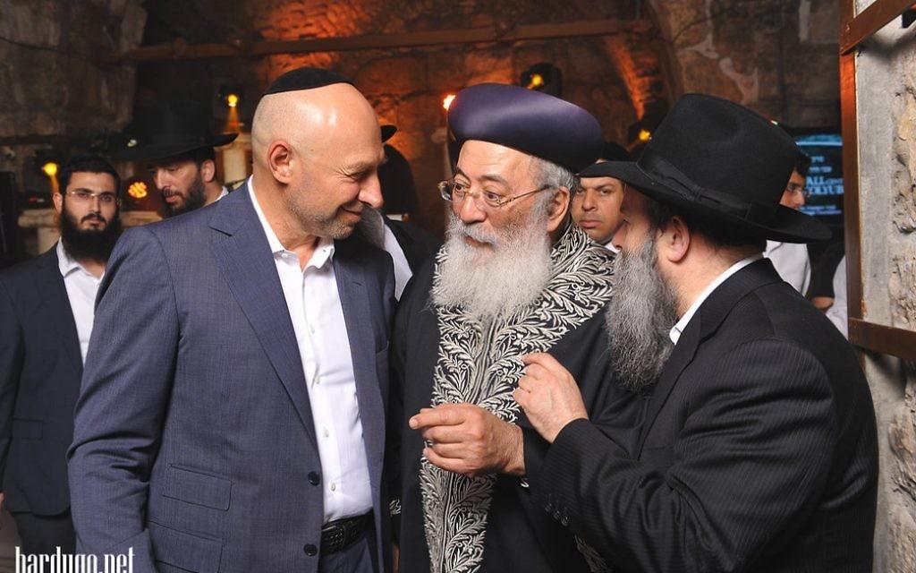 Gennadiy Bogolyubov, left, with Jerusalem Chief Rabbi Shlomo Amar and Chief Rabbi of Dnipropetrovsk's Jewish community, Shmuel Kaminezki