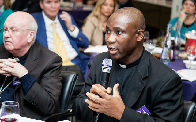 Father Mark Odionof of the Catholic Church, speaking about modern slavery and human trafficking in his native Nigeria