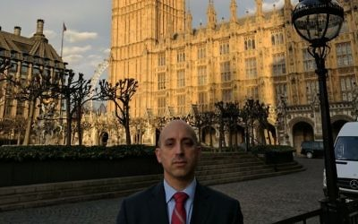 Jonathan Greenblatt in London, outside the Houses of Parliament