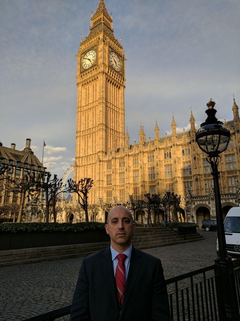 Jonathan Greenblatt in London, outside the Houses of Parliament