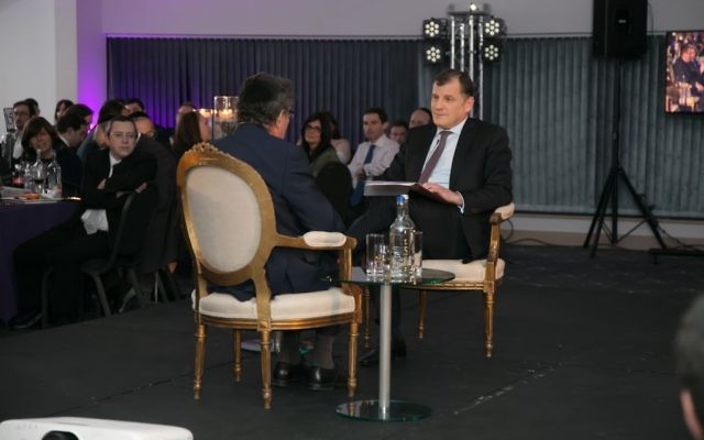 Lord Kestenbaum speaking with Lord Robert Winston