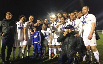 Lions celebrate winning the Herts Senior Centenary Trophy