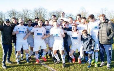 Lions celebrate winning the Herts Senior League Premier Division title. Picture: London Lions FC