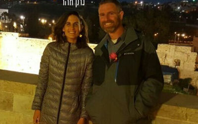 Natan Meir with his wife-to-be Zohar Morgenstern