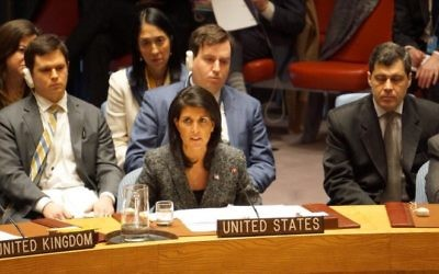 Nikki Haley (centre) at the UN